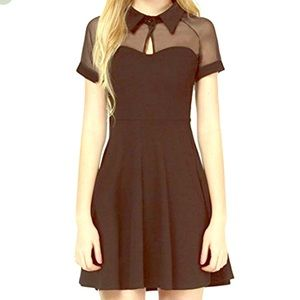 Peter Pan Collar & Mesh Fit n Flare/Skater Dress